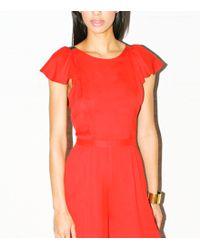 Fleur du Mal Georgette Ruffle Jumpsuit - Red