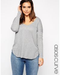 Asos Curve Top With V-Neck & Long Sleeves In Baby Rib - Lyst