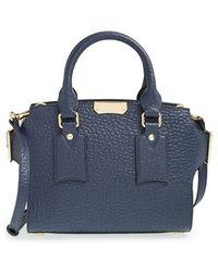 Burberry 'Small Gainsborough' Signature Grain Leather Tote blue - Lyst