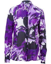 Basler Floral Print Blouse - Purple