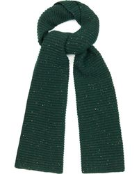 Raey Chunky Ribbed-Knit Donegal-Wool Scarf - Green