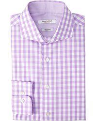 Isaac Mizrahi Lilac Slim Fit Gingham Dress Shirt - Lyst