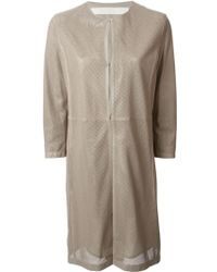 DROMe Perforated Fitted Coat - Lyst