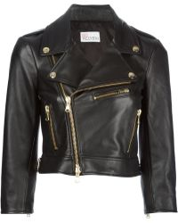 RED Valentino Black Biker Jacket - Lyst