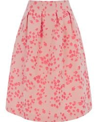Oasis Painted Meadow Jacquard Midi Skirt - Lyst