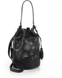 Loeffler Randall Perforated Bucket Bag black - Lyst