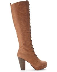 Steve Madden Tan Rhymmee Lace-up Boots - Lyst