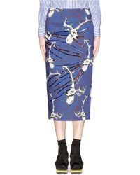 Stella Jean 'Bridgeport' Sequin Stag Print Pencil Skirt blue - Lyst