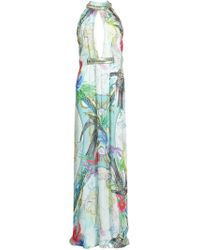 Matthew Williamson Atlas Silk Embroidered Backless Gown - Lyst
