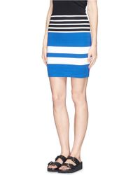 T By Alexander Wang Contrast Stripe Pencil Skirt - Lyst