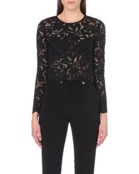 Sandro Long-sleeved Woven Lace Top - Lyst