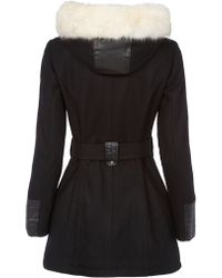 Halifax Traders - Wool Hooded Coat With Faux Fur Trim - Lyst