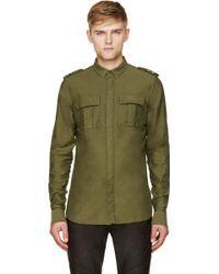 Balmain Khaki Epaulet Accent Shirt - Lyst