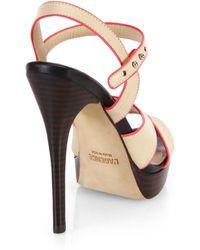 L'Agence Strappy Leather Platform Sandals - Black