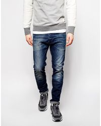 Diesel Jeans Tepphar Skinny Fit 838D Stretch Dark Distressed - Lyst