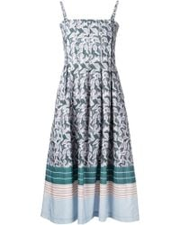 Suno Printed Flared Midi Dress - Lyst