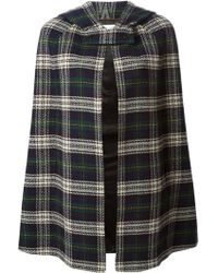 Saint Laurent Checked Hooded Cape - Lyst