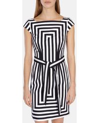 Karen Millen Graphic Stripe Shift Dress - Lyst