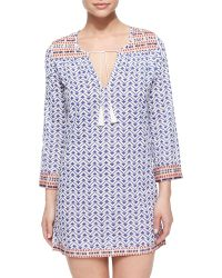 Soft Joie Daria Geo-Print Coverup Tunic Dress - Blue