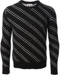 Saint Laurent Black Patterned Sweater - Lyst