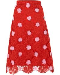House of Holland Midi A- Line Skirt Red - Lyst