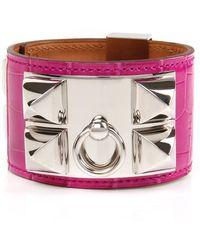 Hermès - Rose Scheheraza De Shiny Alligator Collier De Chien Bracelet - Lyst