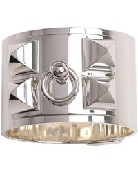 Hermès - Sterling Silver Wide Collier De Chien Bracelet - Lyst