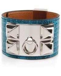 Hermès - Blue Izmir Shiny Alligator Collier De Chien Bracelet - Lyst