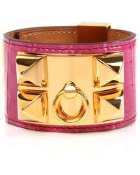 Hermès - Fuchsia Shiny Alligator Collier De Chien Bracelet - Lyst