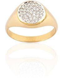 Kismet by Milka - Geometry Boys Circle White Diamond Ring - Lyst