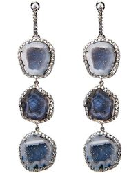 Kimberly Mcdonald - Triple Blue Geode And Diamond Earrings - Lyst