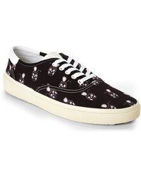 Saint Laurent Black & White Pinaskullada Skate Sneakers - Lyst