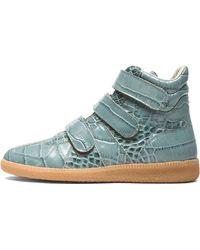 Maison Martin Margiela Crocodile Print 3 Strap High Top Leather Sneakers - Lyst