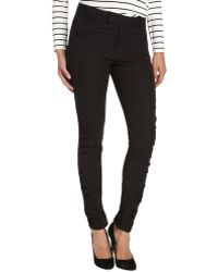 Nanette Lepore Black Stretch Cotton Ruched Skinny Crow Pant - Lyst