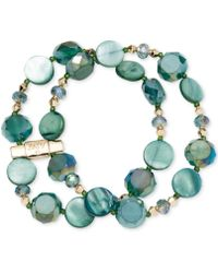 Jones New York - Gold-tone Green Mixed Bead Two-row Stretch Bracelet - Lyst