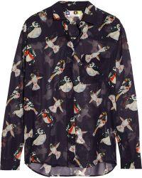 MSGM Printed Silk-Chiffon Shirt - Lyst