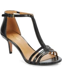 Nine West Gohome Leather T-Strap Sandals - Lyst