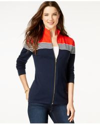Tommy Hilfiger Samantha Colorblocked Zip-front Sweater - Blue