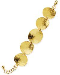 Jose & Maria Barrera Gold-Plated Hammered Disc Bracelet - Lyst