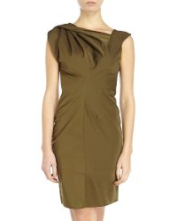 Vera Wang | Solid Twisted Shoulder Dress | Lyst