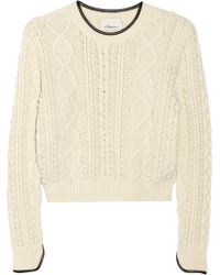 3.1 Phillip Lim Contrasttrimmed Cableknit Sweater - Lyst