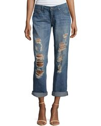 Fade To Blue Heavy-Distressed Best Friend Jeans - Lyst