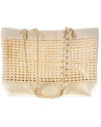 Chanel   Pre-owned: Vintage Straw Cc Logo Lambskin Tote   Lyst