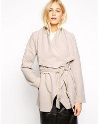 Oasis Short Wrap Coat - Grey