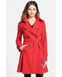 Trina Turk Women'S 'Juliette' Double Breasted Skirted Trench Coat - Lyst