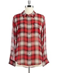 Two By Vince Camuto Sheer Plaid Blouse - White