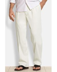 Tommy Bahama | 'new St. Thomas' Flat Front Silk & Cotton Pants | Lyst