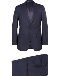 Thom Sweeney Navy Weighhouse Wool Three-Piece Suit - Blue