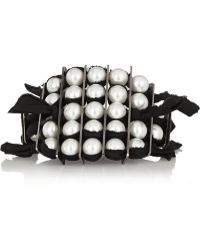 Lanvin Leather and Faux Pearl Bracelet - Lyst