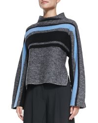 Tibi Striped Cape Wool Sweater - Lyst